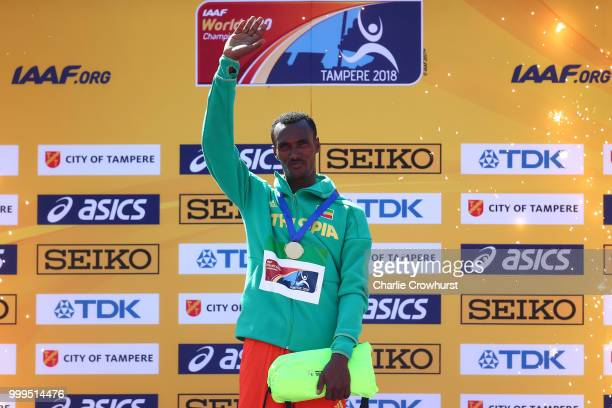Takele Nigate of Ethiopia celebrates with his medal during the medal ceremony for the men's 3000m steeplechase on day six of The IAAF World U20...
