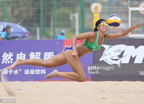 Takemi Nishibori of Japan in action during the match between Kimberly Dicello and Kendra Vanzwieten of USA and Takemi Nishibori and Sayaka Mizoe of...