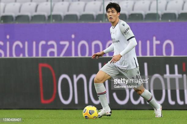 Takemiro Tomiyasu of Bologna FC in action during the Serie A match between ACF Fiorentina and Bologna FC at Stadio Artemio Franchi on January 3, 2021...
