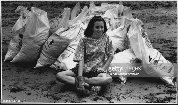 Taken around Sydney HarbourSydney clean upAt the clean up tally roomAlison Austin aged 14 from Mosman with bags of rubbish collected at Whiting Beach...