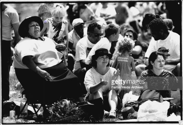 Taken at La PerouseKoori Festival 92Aboriginal Author and Historian Ruby Langford with Julie Cross and Anna Robinson January 26 1992