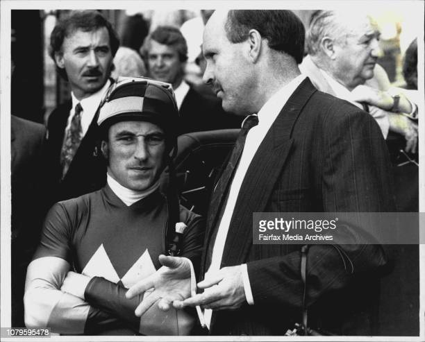 Taken at Rosehill Racecourse Race 1Say Again Jim Cassidy stands close as New Zealand trainer John Wheeler gives instructions April 04 1992