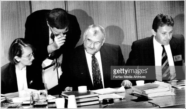 Taken at State ParliamentParliamentary Enquiry into the Angus Rigg HangingLeft Lucy Hook Ted Pickering and Tony Crawford November 20 1992