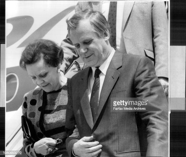 Taken at the Airport Soviet Prime Minister and wife arrive in Sydney Mr Nikolai Ryzhkov and wife Ludmilla Ryzhkova February 15 1990