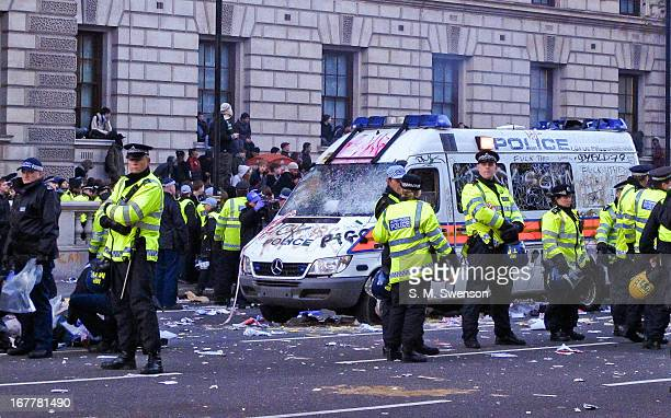 Taken at the Student Protests in Autumn 2010 against the trebling of university fees that eventually passed. There is a completely vandalised police...