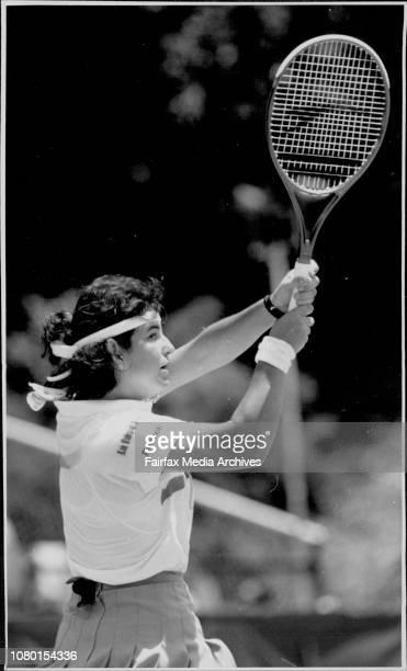 Taken At White CityWomen's Singles FinalGabriela Sabatini V Arantxa Sanchez VicarioSanchez Vicario with the ball holder January 12 1992