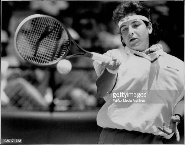 Taken at White CityWomens Singles finalGabriela Sabatini V Arantxa Sanchez VicarioSabcgez Vicario January 12 1992
