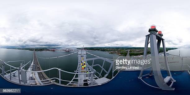 Taken from the South Tower of the Forth Road Bridge the Forth Bridge can be seen to the east Soon the 3 tower Forth Crossing will be built in the...