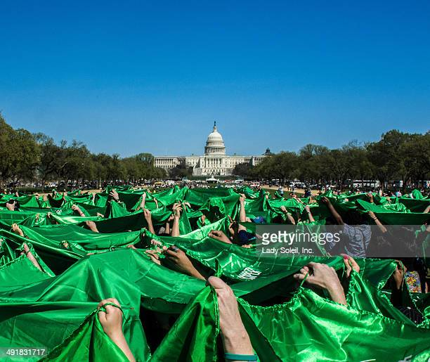 Taken furing the MP3 Experiment that was hosted on the National Mall. The flash mobbers were holding up green super capes with the Capitol Building...