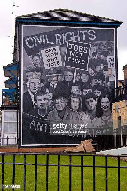 Taken in the Bogside Derry Northern Ireland One of the multiple murals painted on the Bogside houses