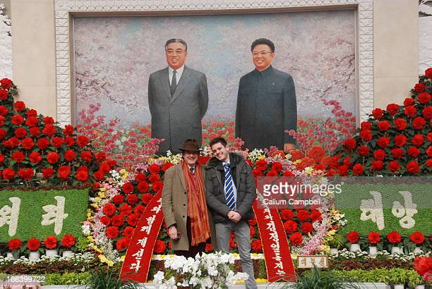 Taken in the entrance hall of the Kim Jong Il-hwa flower exhibition, on the great general's birthday.