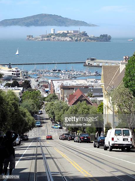 Taken on Hyde street with the bay and Alcatraz.
