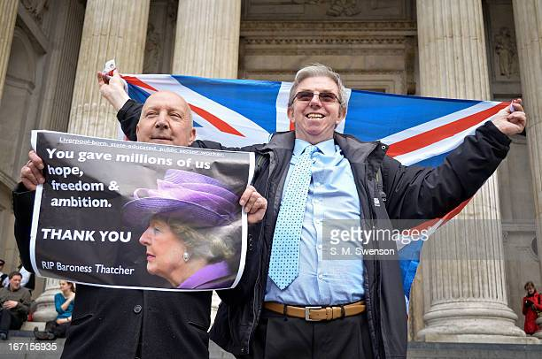 Taken on the steps of St. Paul's Cathedral in London on the day of the former UK Prime Minister Margaret Thatcher's funeral. Two admirers/ supporters...