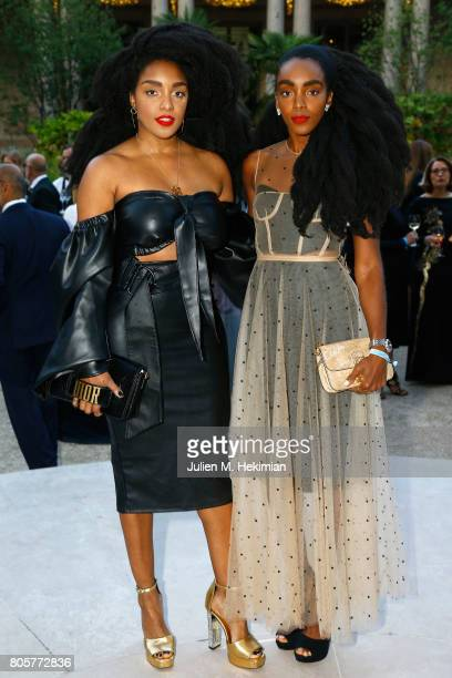 Takenya Quann and Cipriana Quann attend the amfAR Paris Dinner 2017 at Le Petit Palais on July 2 2017 in Paris France