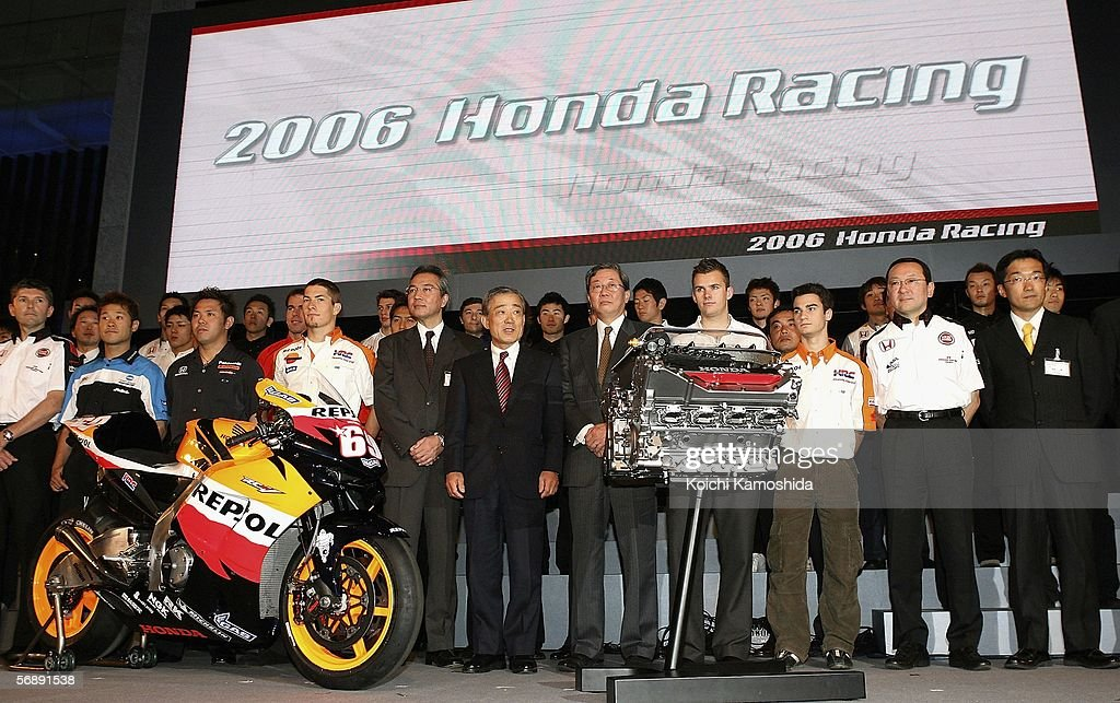 Honda 2006 motorsports highlights photos and images getty images takeo fukui c honda motor co ltd president poses with drivers sciox Image collections