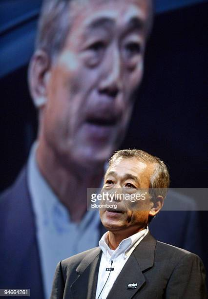 Takeo Fukui Honda Motor Co president and chief executive officer speaks to the media during the launch of the new Stream minivan in Tokyo Thursday...