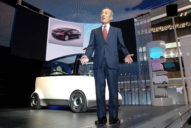 Takeo Fukui President Of Honda Motor Co Speaks In Front O