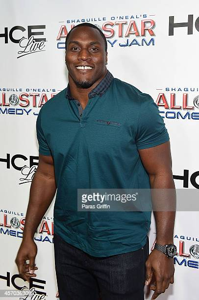 Takeo Spikes attends the HCE Live presents Shaquille O'Neal All Star Comedy Jam at Cobb Energy Center on October 10 2014 in Atlanta Georgia