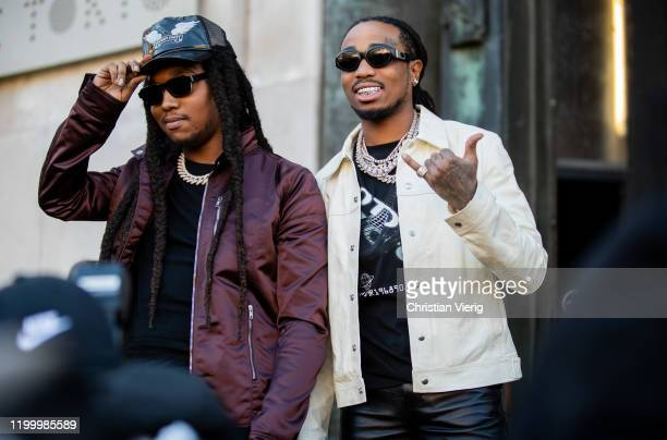 Takeoff and Quavo of Migos are seen outside Rick Owens during Paris Fashion Week - Menswear F/W 2020-2021 on January 16, 2020 in Paris, France.
