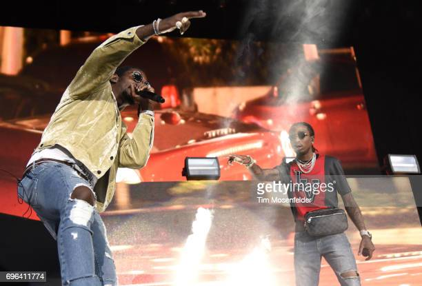 Takeoff and Quavo of Migos perform during the Nobody Safe Tour at Toyota Amphitheatre on June 14 2017 in Wheatland California