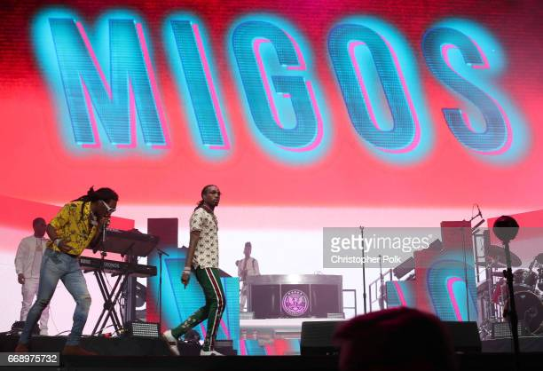 Takeoff and Quavo of Migos perform on the Coachella stage during day 2 of the Coachella Valley Music And Arts Festival at the Empire Polo Club on...
