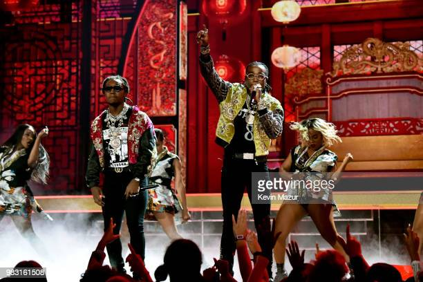 Takeoff and Quavo of Migos perform onstage at the 2018 BET Awards at Microsoft Theater on June 24 2018 in Los Angeles California