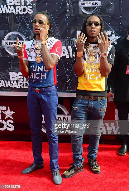Takeoff and Quavo of the group Migos attend the 2015 BET Awards on June 28 2015 in Los Angeles California