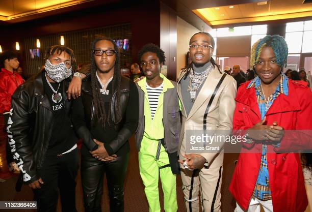 Takeoff, Caleb McLaughlin, Quavo and guest attend the Pinkberry green room backstage at Nickelodeon's 2019 Kids' Choice on March 23, 2019 in Los...