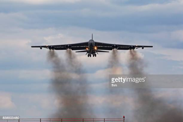 take-off of a b-52 bomber in brandenburg, germany - fumes stock photos and pictures