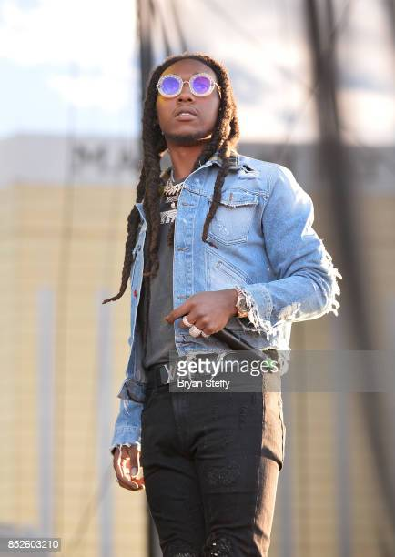 Takeoff of Migos performs onstage during the Daytime Village Presented by Capital One at the 2017 HeartRadio Music Festival at the Las Vegas Village...