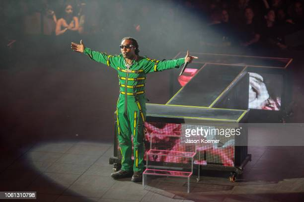 Takeoff of the music group Migos performs on stage at American Airlines Arena on November 13, 2018 in Miami, Florida.