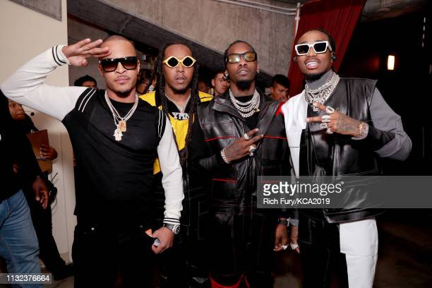 Takeoff, Offset, and Quavo pose backstage at Nickelodeon's 2019 Kids' Choice Awards at Galen Center on March 23, 2019 in Los Angeles, California.