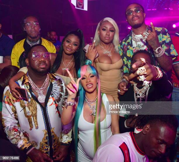 Takeoff Pierre 'Pee' Thomas City Girls Cardi B Quavo and Offset attenda a Birthday celebration for Pierre 'Pee' Thomas at Gold Room on June 7 2018 in...