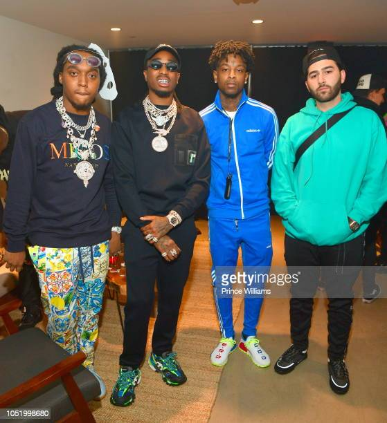 "Takeoff, Quavo, 21 Savage and Elliot Avianne attend Huncho reality ""The Album Release experience on October 12, 2018 in Los Angeles, California."