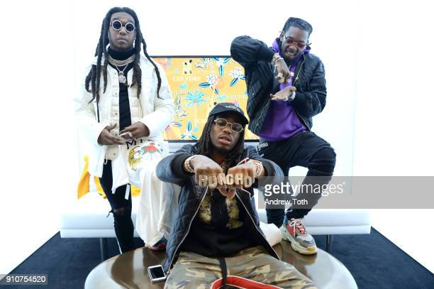 Takeoff Quavo and Offset attend the Migos collection launch at MUSIC IS UNIVERSAL Bloomingdale's exclusive partnership with Universal Music Group...