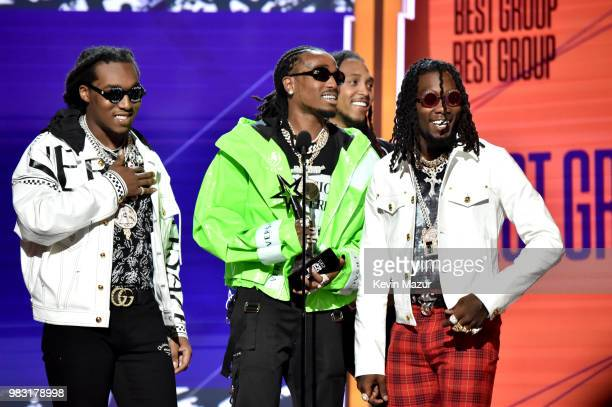 Takeoff Quavo and Offset of Migos accept the Best Duo/Group award onstage at the 2018 BET Awards at Microsoft Theater on June 24 2018 in Los Angeles...