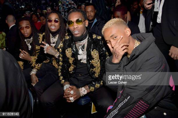 Takeoff, Quavo and Offset of Migos and Jaden Smith attend the 60th Annual GRAMMY Awards at Madison Square Garden on January 28, 2018 in New York City.
