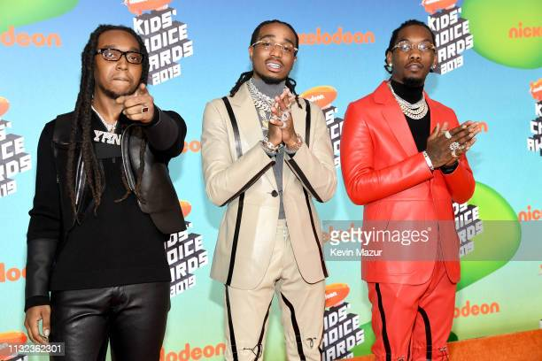 Takeoff Quavo and Offset of Migos attend Nickelodeon's 2019 Kids' Choice Awards at Galen Center on March 23 2019 in Los Angeles California