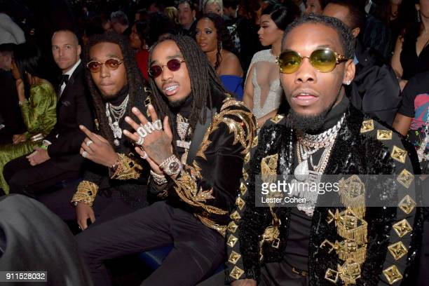 Takeoff, Quavo and Offset of Migos attend the 60th Annual GRAMMY Awards at Madison Square Garden on January 28, 2018 in New York City.