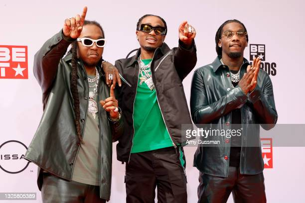 Takeoff, Quavo and Offset of Migos attend the BET Awards 2021 at Microsoft Theater on June 27, 2021 in Los Angeles, California.