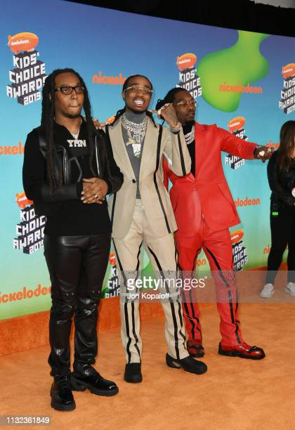 Takeoff Quavo and Offset of Migos attends Nickelodeon's 2019 Kids' Choice Awards at Galen Center on March 23 2019 in Los Angeles California