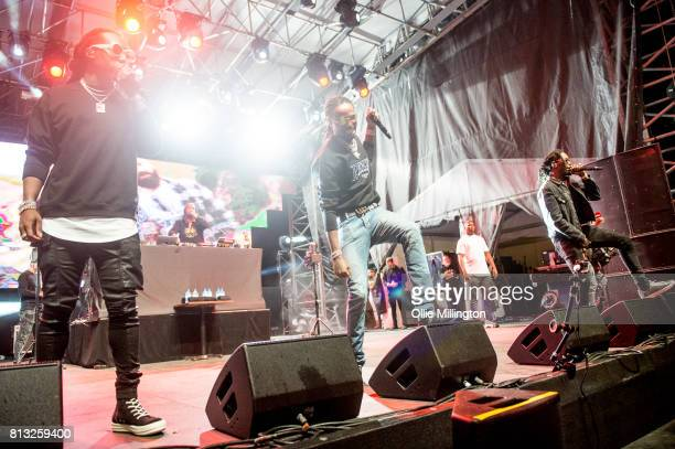 Takeoff Quavo and Offset of Migos perform a headline show on the Lotto Stage in the Parc de la Francophonie during Day 6 of the 50th Festival d'ete...