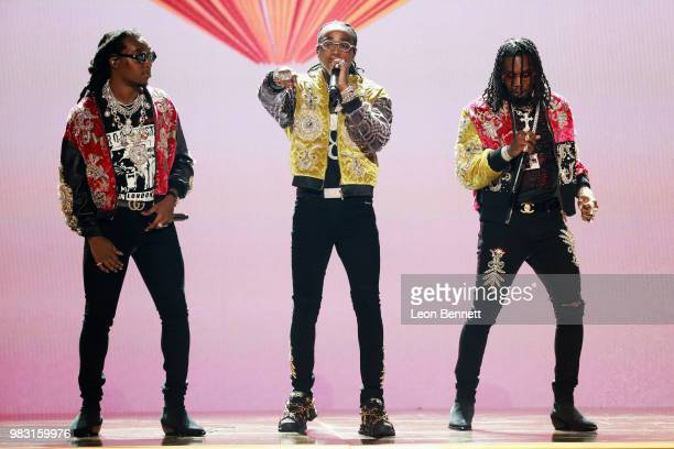 Takeoff Quavo and Offset of Migos perform onstage at the 2018 BET Awards at Microsoft Theater on June 24 2018 in Los Angeles California