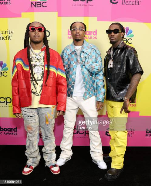 Takeoff, Quavo, and Offset of Migos pose backstage for the 2021 Billboard Music Awards, broadcast on May 23, 2021 at Microsoft Theater in Los...