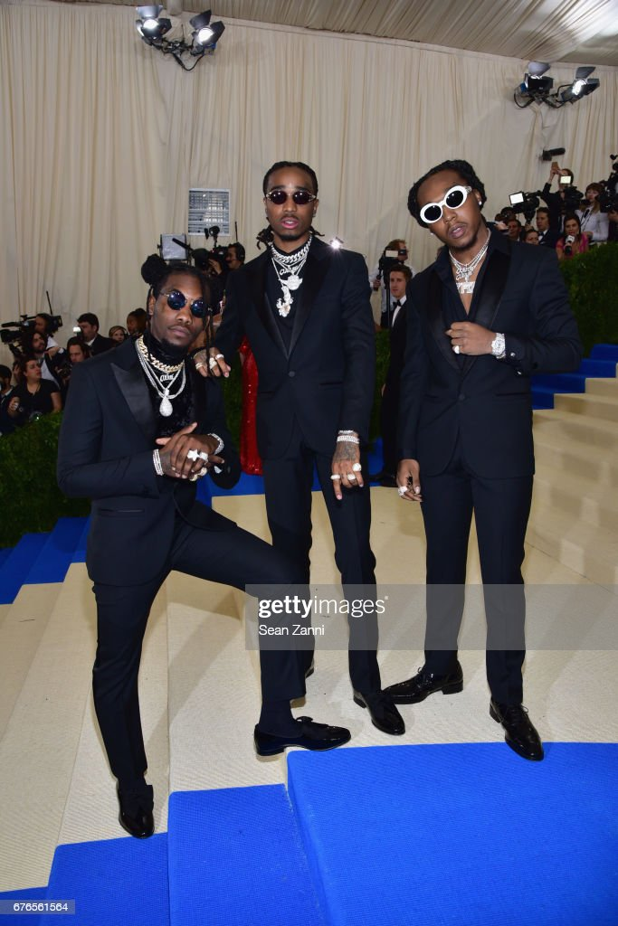 Takeoff, Quavo and Offset of the group Migos arrive at 'Rei Kawakubo/Comme des Garcons: Art Of The In-Between' Costume Institute Gala at The Metropolitan Museum on May 1, 2017 in New York City.