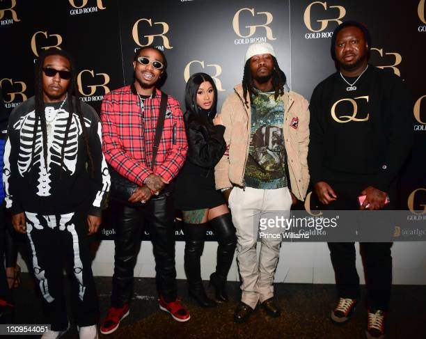 Takeoff Quavo Cardi B Offset and Pierre Pee Thomas attend Hawks vs Nets After Party at Gold Room on February 28 2020 in Atlanta Georgia