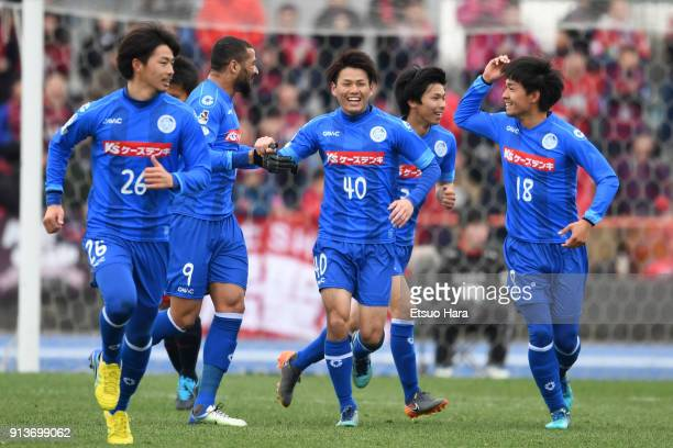 Takeru Kishimoto of Mito Hollyhock celebrates scoring his side's first goal during the preseason friendly match between Mito HollyHock and Kashima...