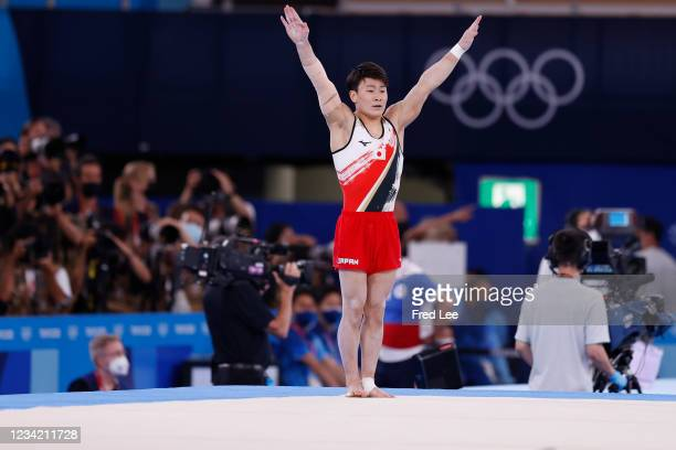 Takeru Kitazono of Team Japan competes in the floor exercise during the Men's Team Final on day three of the Tokyo 2020 Olympic Games at Ariake...