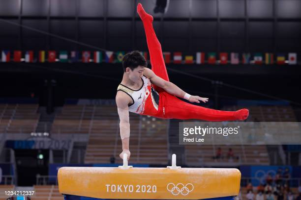 Takeru Kitazono of Team Japan competes on pommel horse during the Men's Team Final on day three of the Tokyo 2020 Olympic Games at Ariake Gymnastics...