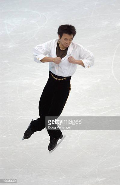 Takeshi Honda from Japan takes the bronze medal as he competes in the Men's Free Skate at World Figure Skating Championships on March 27 2003 at the...